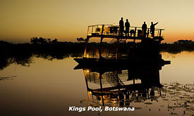 Botswana Safari Vacations,Sunset Cruise at Kings Pool Safari Camp in Botswana